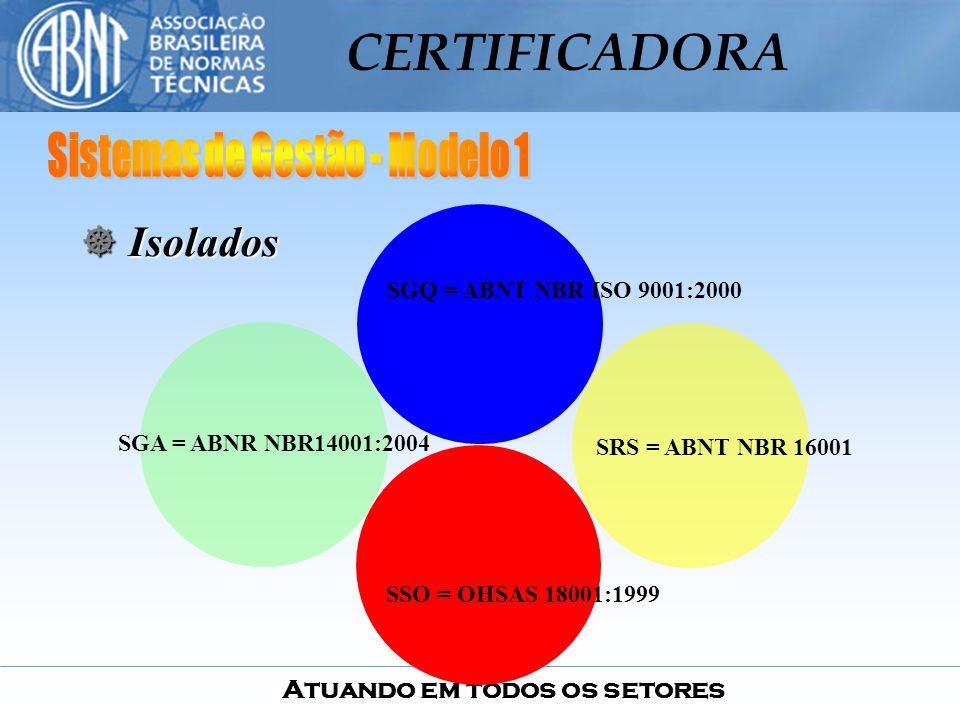 Atuando em todos os setores CERTIFICADORA SGQ = ABNT NBR ISO 9001:2000 SRS = ABNT NBR 16001 SGA = ABNR NBR14001:2004 SSO = OHSAS 18001:1999 ] I] I] I]