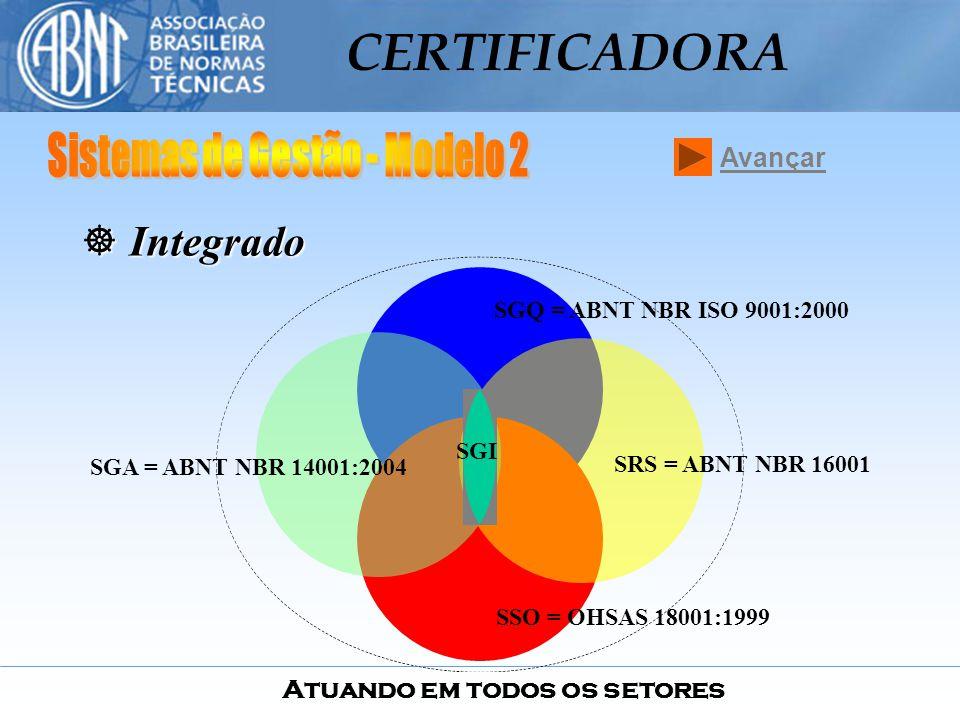 Atuando em todos os setores CERTIFICADORA SGQ = ABNT NBR ISO 9001:2000 SRS = ABNT NBR 16001 SGA = ABNT NBR 14001:2004 SSO = OHSAS 18001:1999 SGI ] I]