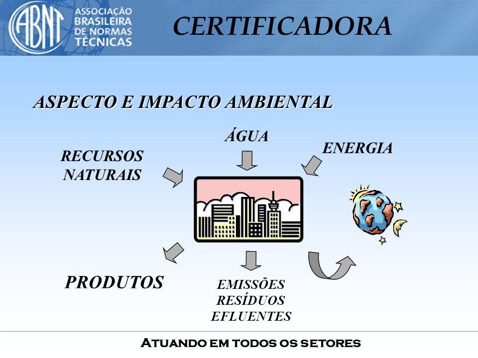 Atuando em todos os setores CERTIFICADORA ASPECTO E IMPACTO AMBIENTAL ENERGIA ÁGUA RECURSOS NATURAIS PRODUTOS EMISSÕES RESÍDUOS EFLUENTES
