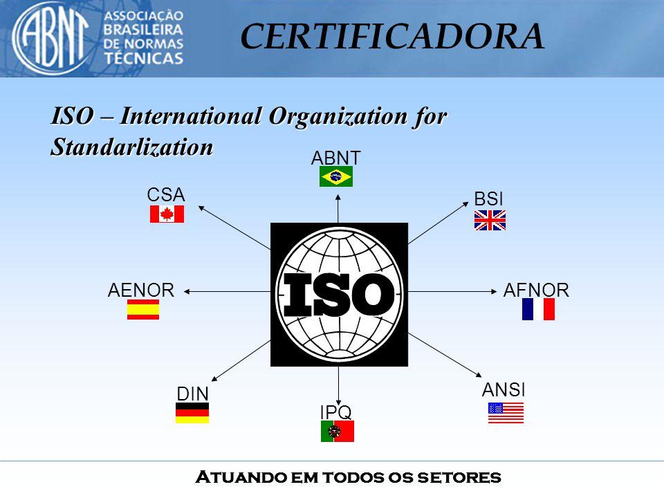 Atuando em todos os setores CERTIFICADORA ISO – International Organization for Standarlization ABNT AENORAFNOR DIN BSI ANSI IPQ CSA