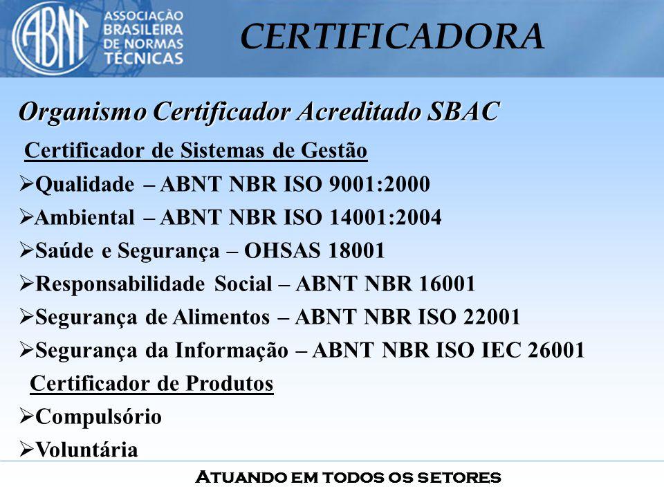 Atuando em todos os setores CERTIFICADORA Organismo Certificador Acreditado SBAC Certificador de Sistemas de Gestão Qualidade – ABNT NBR ISO 9001:2000