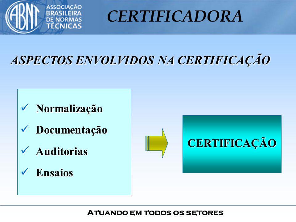 Atuando em todos os setores CERTIFICADORA Normalização Normalização Documentação Documentação Auditorias Auditorias Ensaios Ensaios ASPECTOS ENVOLVIDO