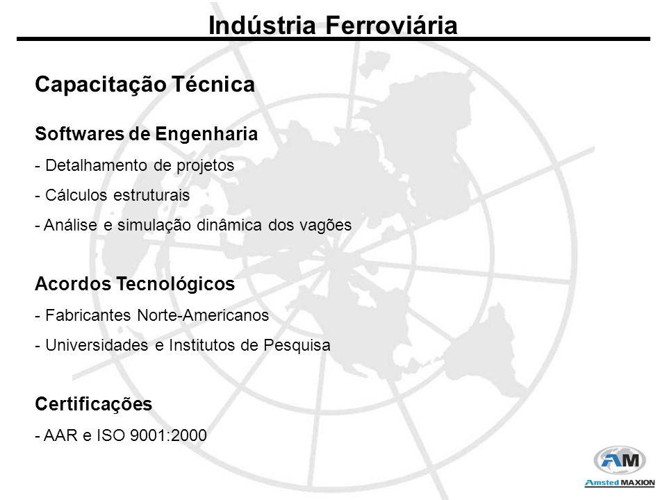 Indústria Ferroviária Softwares de Engenharia - Detalhamento de projetos - Cálculos estruturais - Análise e simulação dinâmica dos vagões Acordos Tecnológicos - Fabricantes Norte-Americanos - Universidades e Institutos de Pesquisa Certificações - AAR e ISO 9001:2000 Capacitação Técnica