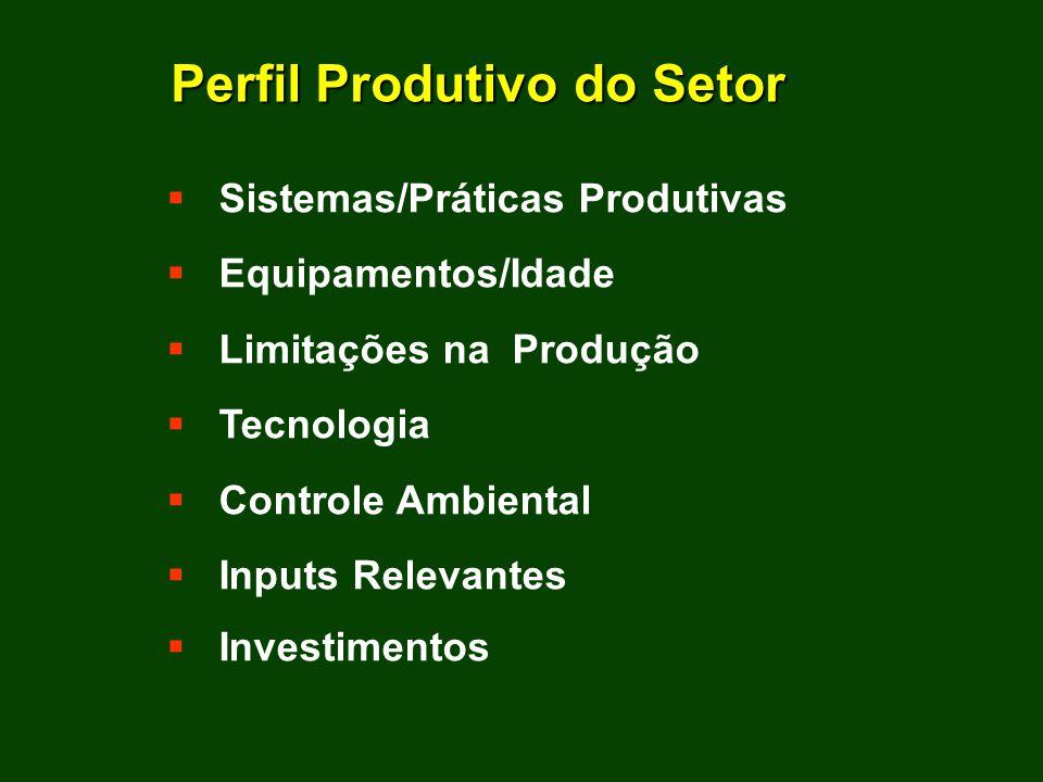 Sistemas/Práticas Produtivas Equipamentos/Idade Limitações na Produção Tecnologia Controle Ambiental Inputs Relevantes Investimentos Perfil Produtivo do Setor