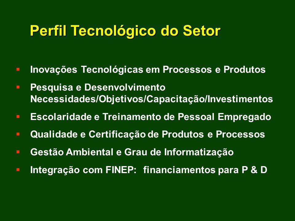 Inovações Tecnológicas em Processos e Produtos Pesquisa e Desenvolvimento Necessidades/Objetivos/Capacitação/Investimentos Escolaridade e Treinamento de Pessoal Empregado Qualidade e Certificação de Produtos e Processos Gestão Ambiental e Grau de Informatização Integração com FINEP: financiamentos para P & D Perfil Tecnológico do Setor