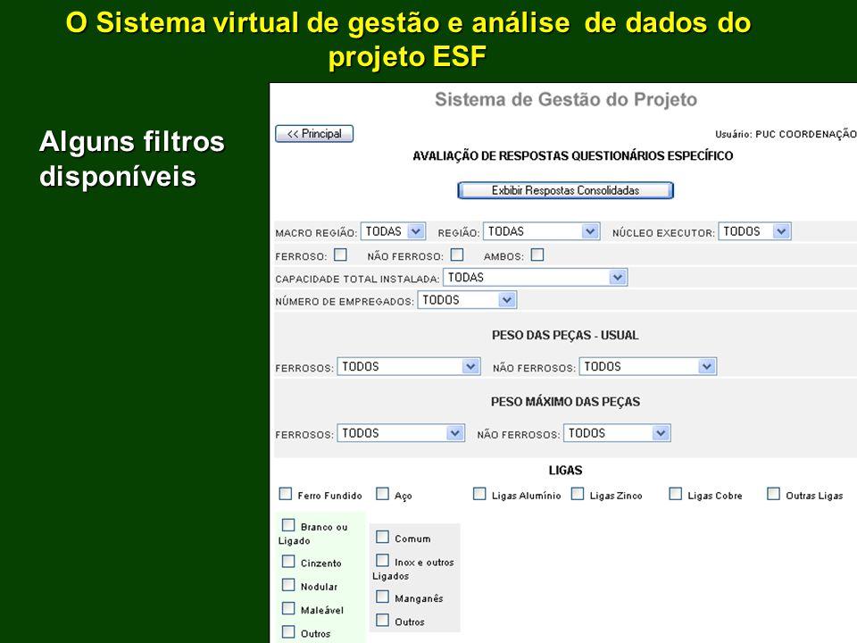 O Sistema virtual de gestão e análise de dados do projeto ESF Alguns filtros disponíveis