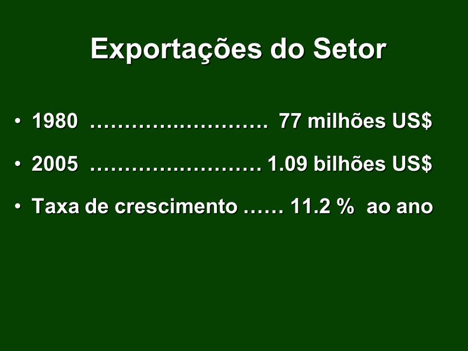 Exportações do Setor 1980 ………….…………. 77 milhões US$1980 ………….…………. 77 milhões US$ 2005 ………….………… 1.09 bilhões US$2005 ………….………… 1.09 bilhões US$ Taxa