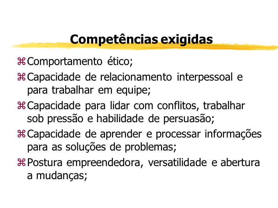 Competências exigidas zConhecimento técnico; zDesejável domínio de uma língua estrangeira; zConhecimento de Informática; zDesejável cursos técnicos específicos com sua formação; zDesejável estágios; zCultura geral consolidada; zDomínio de conceitos de Liderança, de Métodos de Pesquisa, Planejamento Estratégico e Indicadores de Qualidade; zNoções Econômico-Financeiras (Macroeconomia / Contabilidade).