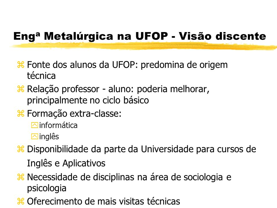 Deficiência na formação do Engenheiro Metalurgista - UFMG Relacionamento interpessoal; Domínio da linguagem computacional; Domínio de línguas estrangeiras.