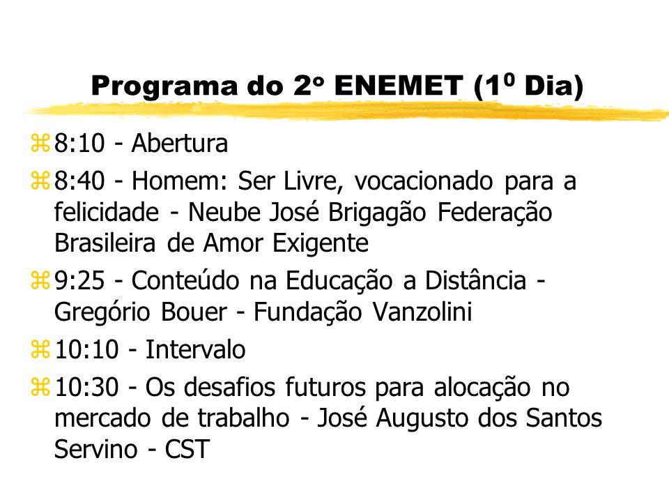 Programa do 2 o ENEMET - Encontro Nacional de Estudantes de Engenharia Metalúrgica e de Materiais z400 estudantes e 20 Universidades do Norte ao Sul do país.