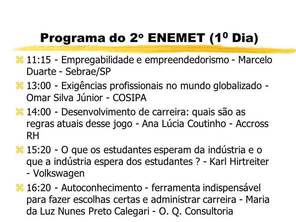 Programa do 2 o ENEMET (1 0 Dia) z8:10 - Abertura z8:40 - Homem: Ser Livre, vocacionado para a felicidade - Neube José Brigagão Federação Brasileira d