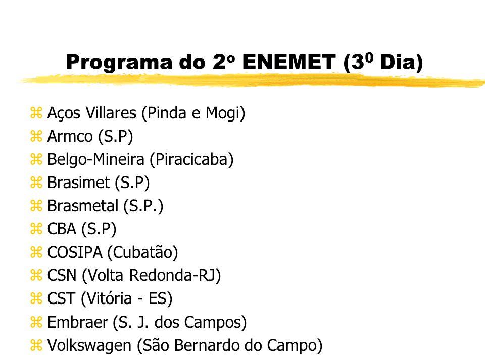 Programa do 2 o ENEMET (2 0 Dia) zParticipação no 57 o Congresso Anual da ABM