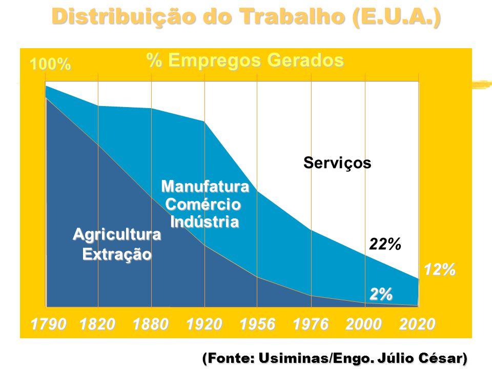Distribuição do Trabalho (E.U.A.) 1790182018801920195620001976 % Empregos Gerados 2% 22% 100%AgriculturaExtraçãoManufaturaComércioIndústria 2020 12% Serviços (Fonte: Usiminas/Engo.