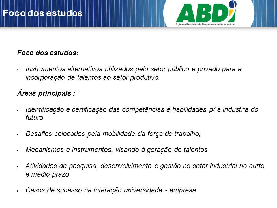 Foco dos estudos Foco dos estudos: Instrumentos alternativos utilizados pelo setor público e privado para a incorporação de talentos ao setor produtiv