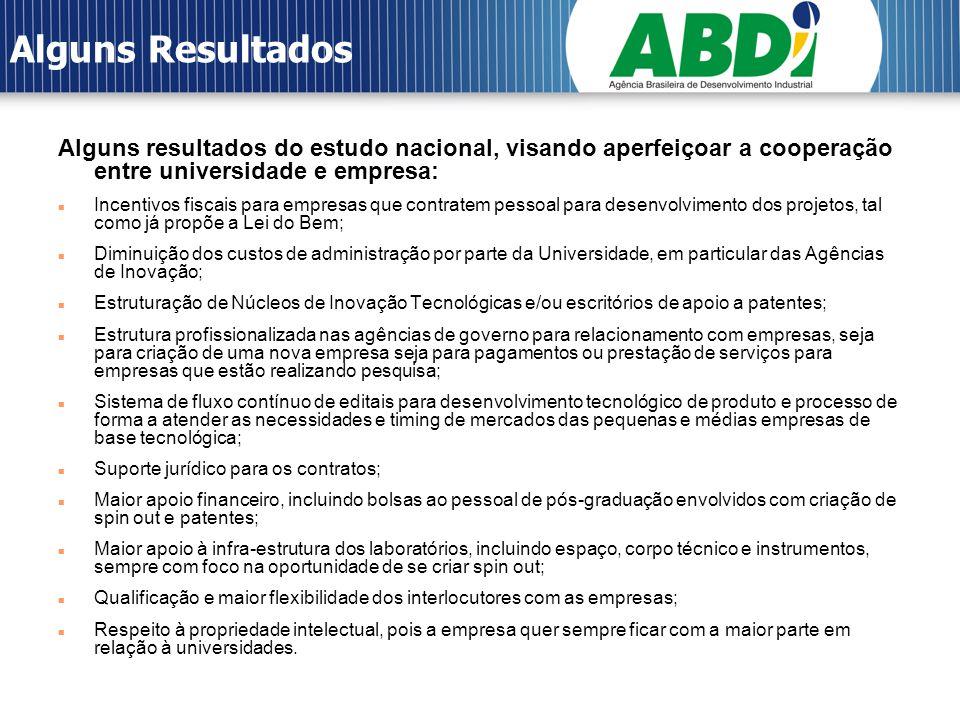 Alguns Resultados Alguns resultados do estudo nacional, visando aperfeiçoar a cooperação entre universidade e empresa: Incentivos fiscais para empresa