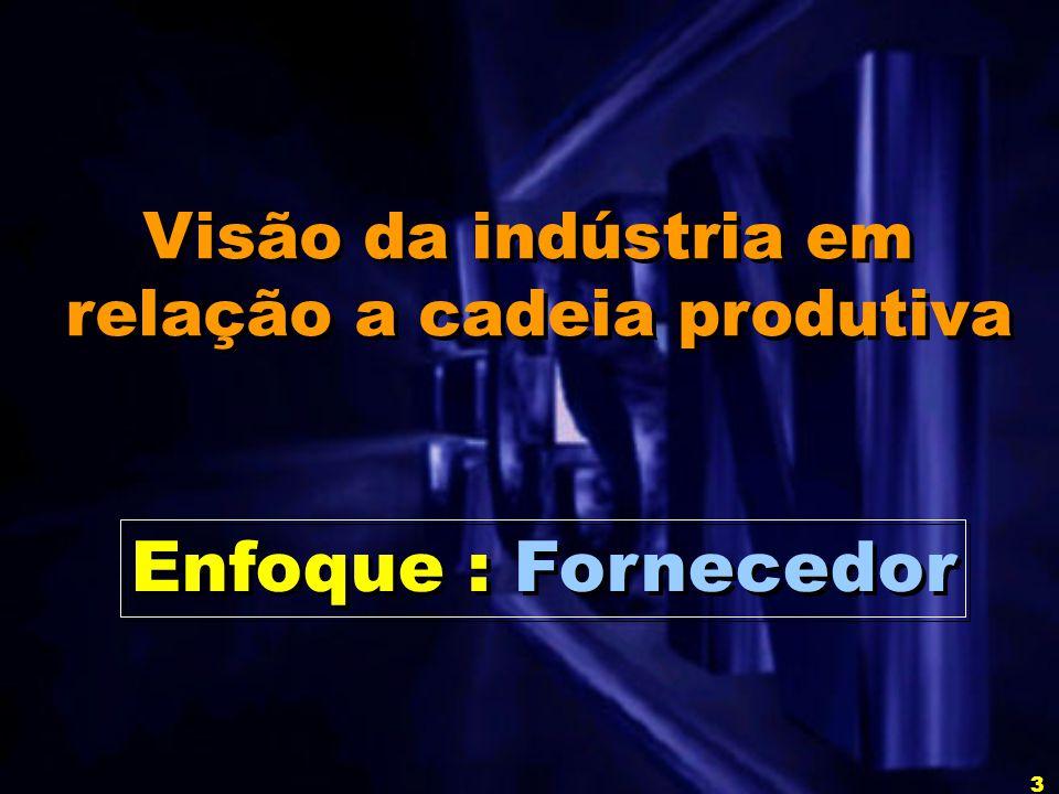 3 Visão da indústria em relação a cadeia produtiva Visão da indústria em relação a cadeia produtiva Enfoque : Fornecedor