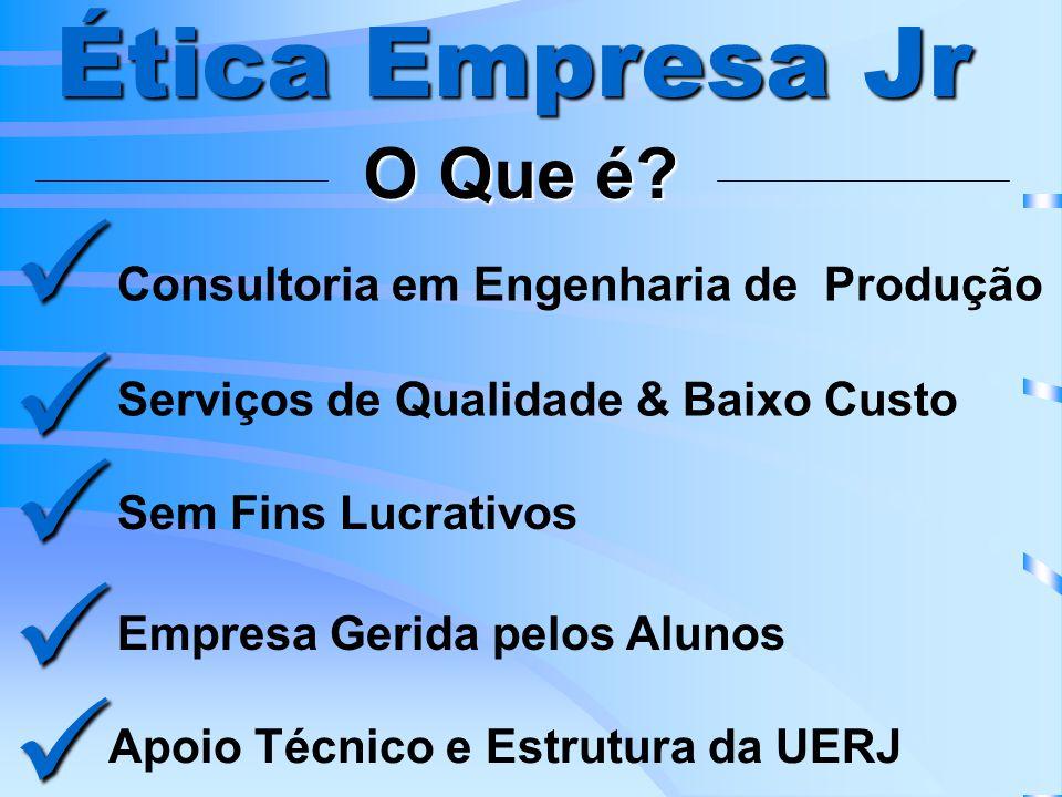 Ética Empresa Jr Serviços de Qualidade & Baixo Custo Sem Fins Lucrativos Empresa Gerida pelos Alunos Apoio Técnico e Estrutura da UERJ Consultoria em Engenharia de Produção O Que é?