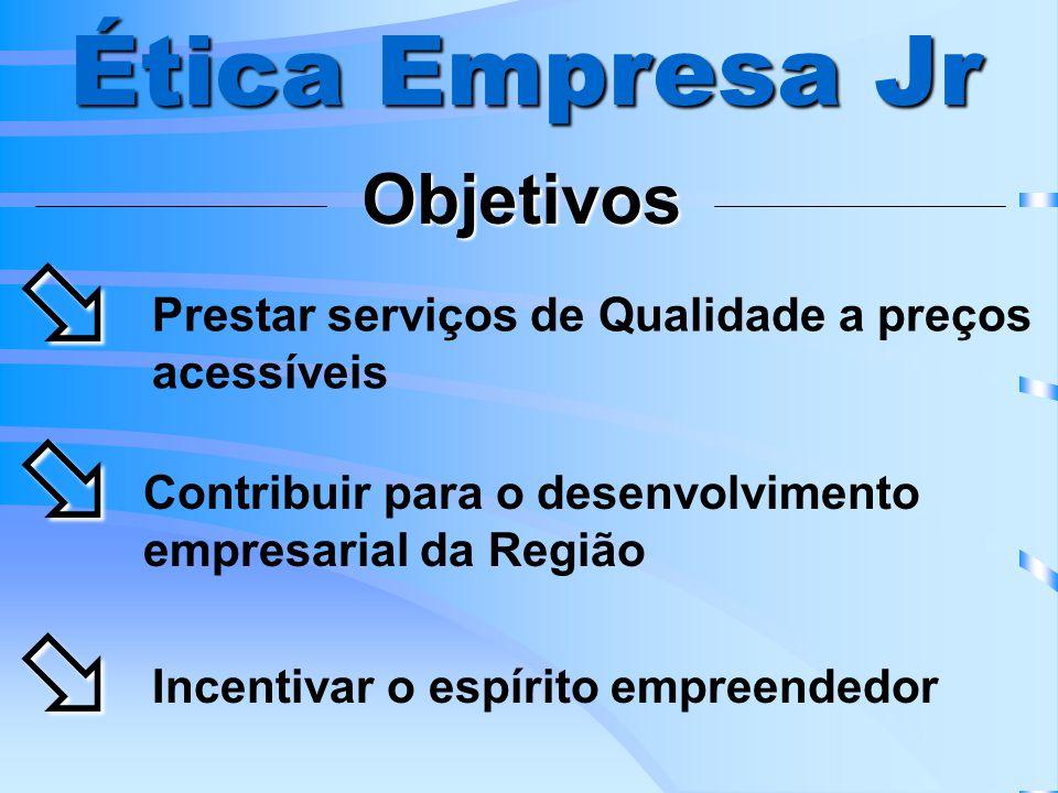 Ética Empresa Jr Objetivos Prestar serviços de Qualidade a preços acessíveis Contribuir para o desenvolvimento empresarial da Região Incentivar o espírito empreendedor