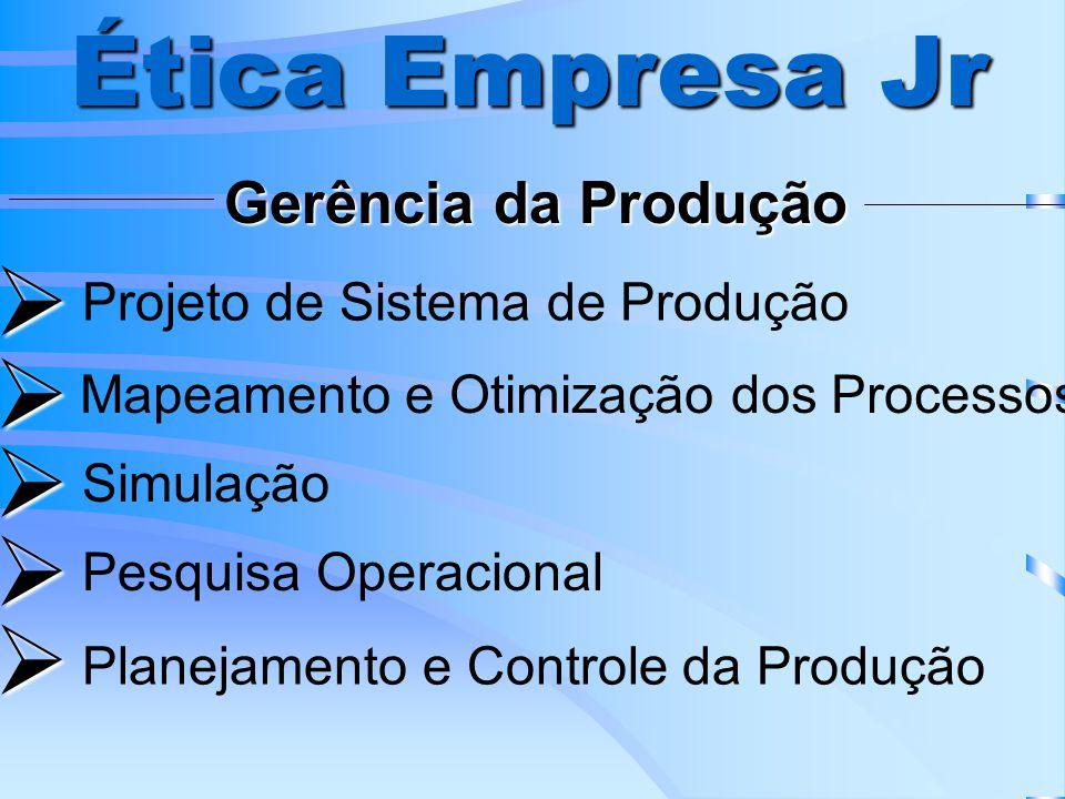 Gerência da Produção Ética Empresa Jr Projeto de Sistema de Produção Mapeamento e Otimização dos Processos Simulação Pesquisa Operacional Planejamento e Controle da Produção