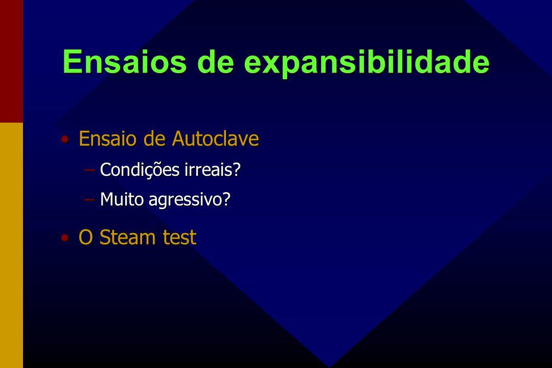 Ensaios de expansibilidade Ensaio de AutoclaveEnsaio de Autoclave –Condições irreais? –Muito agressivo? O Steam testO Steam test
