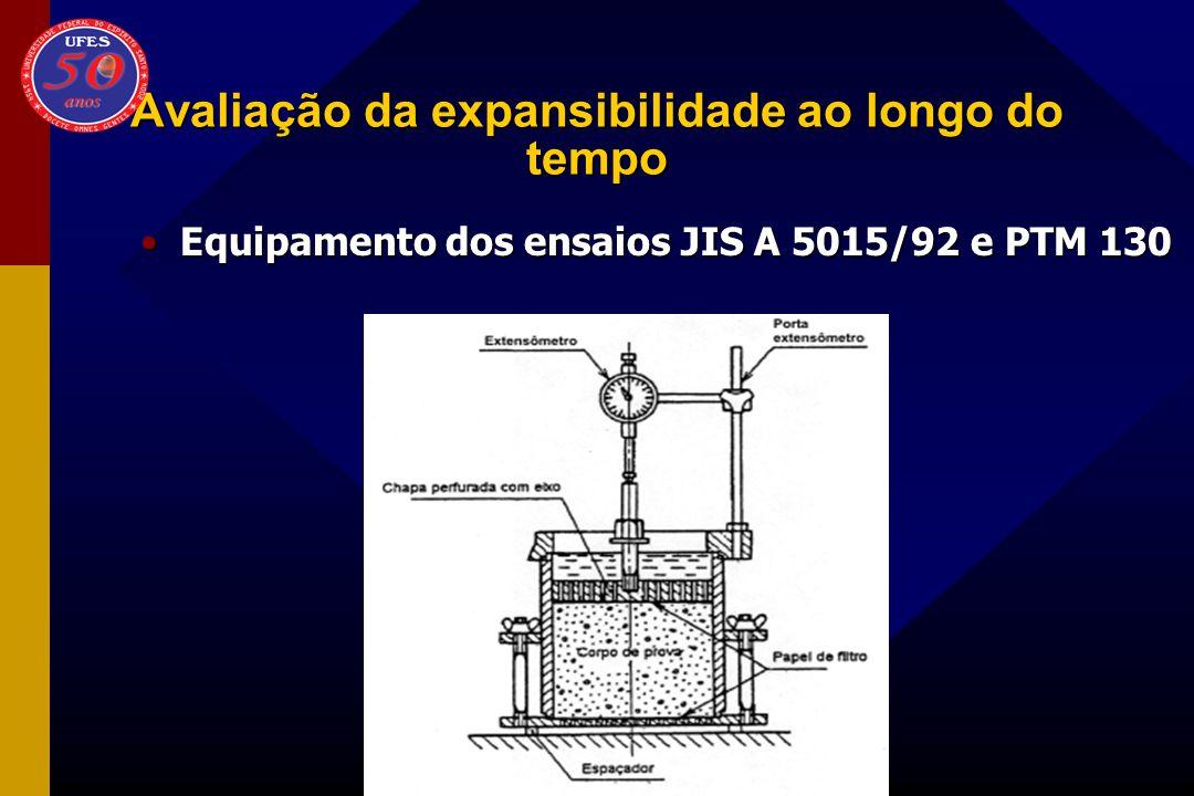 Avaliação da expansibilidade ao longo do tempo Equipamento dos ensaios JIS A 5015/92 e PTM 130Equipamento dos ensaios JIS A 5015/92 e PTM 130