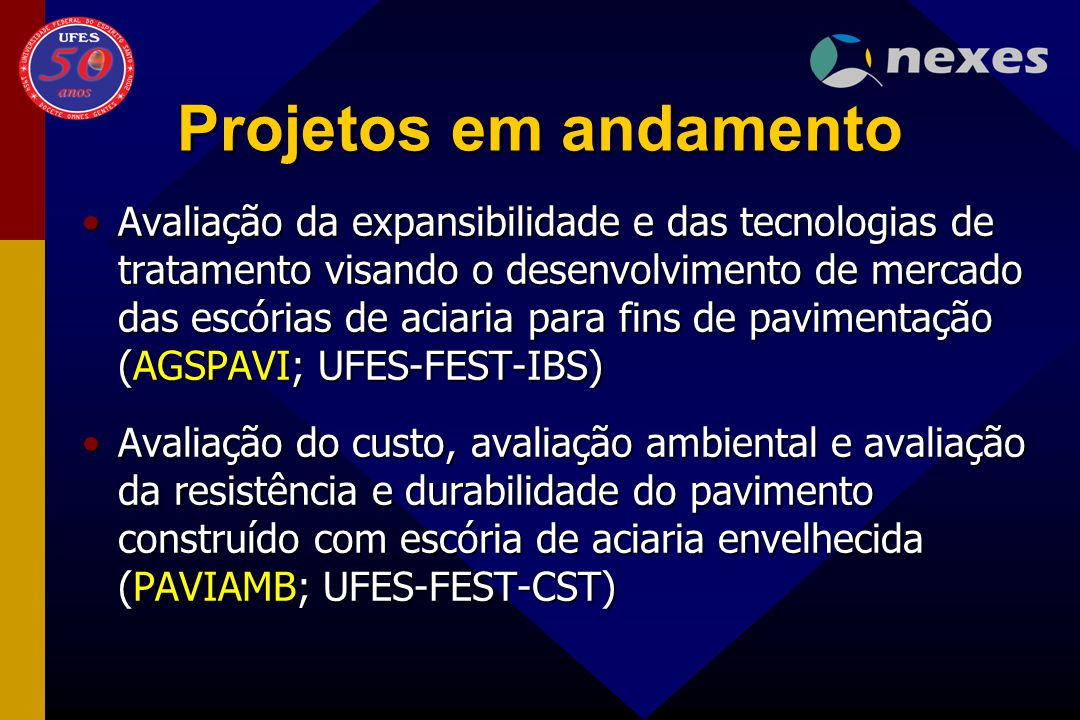Projetos em andamento Avaliação da expansibilidade e das tecnologias de tratamento visando o desenvolvimento de mercado das escórias de aciaria para f