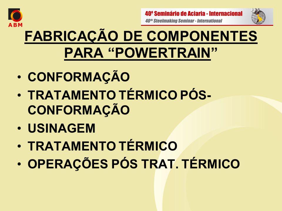 FABRICAÇÃO DE COMPONENTES PARA POWERTRAIN CONFORMAÇÃO TRATAMENTO TÉRMICO PÓS- CONFORMAÇÃO USINAGEM TRATAMENTO TÉRMICO OPERAÇÕES PÓS TRAT. TÉRMICO
