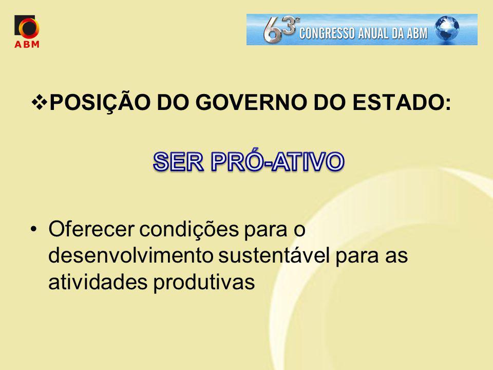POSIÇÃO DO GOVERNO DO ESTADO: Oferecer condições para o desenvolvimento sustentável para as atividades produtivas