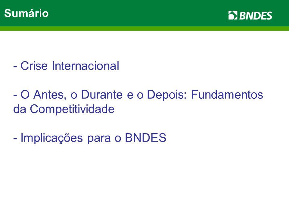 - Crise Internacional - O Antes, o Durante e o Depois: Fundamentos da Competitividade - Implicações para o BNDES Sumário