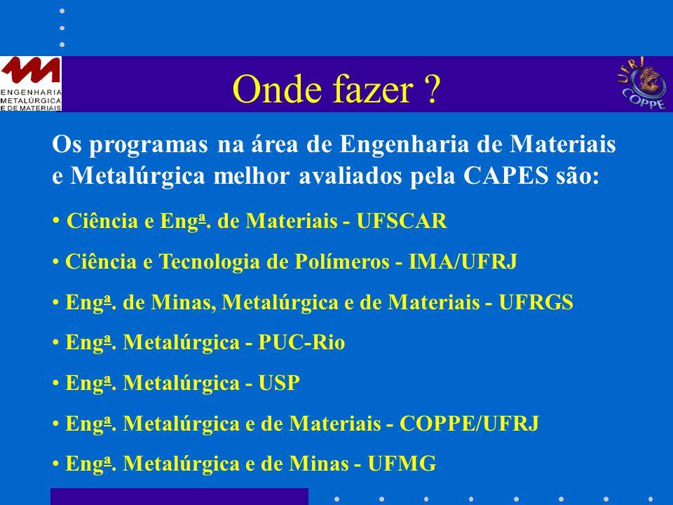 Onde fazer ? Os programas na área de Engenharia de Materiais e Metalúrgica melhor avaliados pela CAPES são: Ciência e Eng a. de Materiais - UFSCAR Ciê