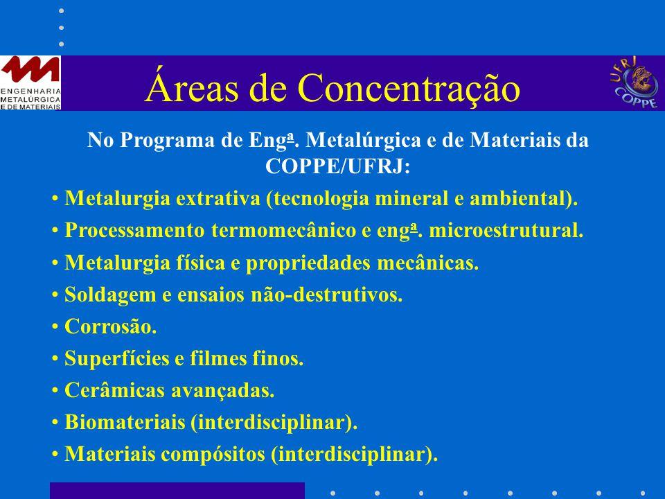 Áreas de Concentração No Programa de Eng a. Metalúrgica e de Materiais da COPPE/UFRJ: Metalurgia extrativa (tecnologia mineral e ambiental). Processam
