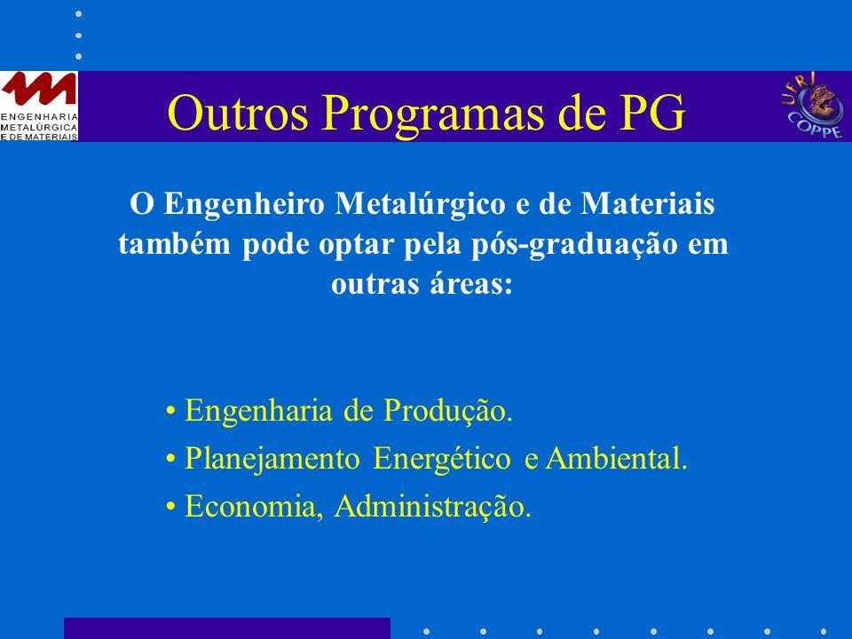 Outros Programas de PG O Engenheiro Metalúrgico e de Materiais também pode optar pela pós-graduação em outras áreas: Engenharia de Produção. Planejame
