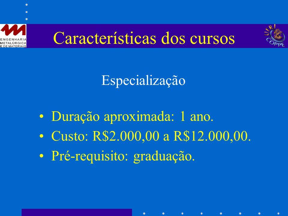 Características dos cursos Duração aproximada: 1 ano. Custo: R$2.000,00 a R$12.000,00. Pré-requisito: graduação. Especialização