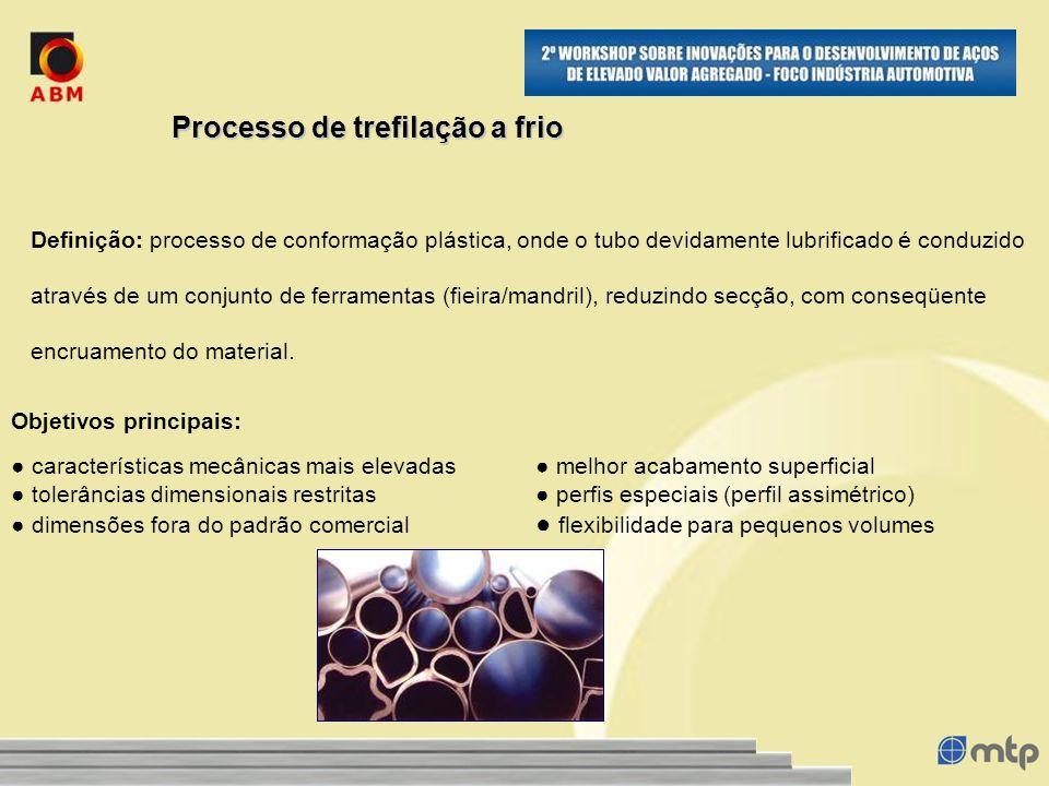 Processo de trefilação a frio Definição: processo de conformação plástica, onde o tubo devidamente lubrificado é conduzido através de um conjunto de ferramentas (fieira/mandril), reduzindo secção, com conseqüente encruamento do material.