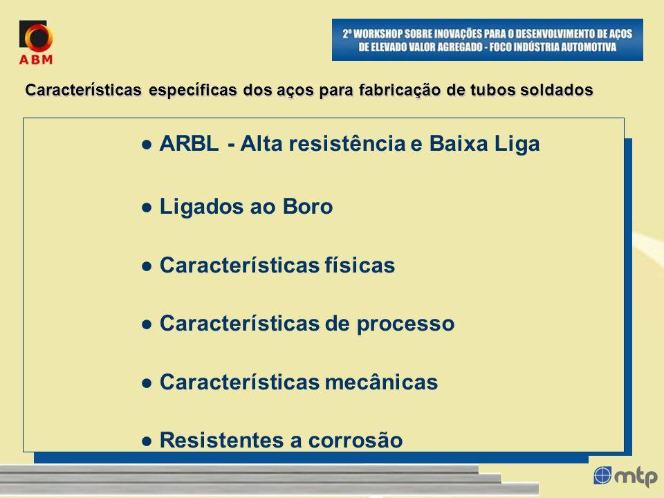 Características específicas dos aços para fabricação de tubos soldados ARBL - Alta resistência e Baixa Liga Ligados ao Boro Características físicas Ca