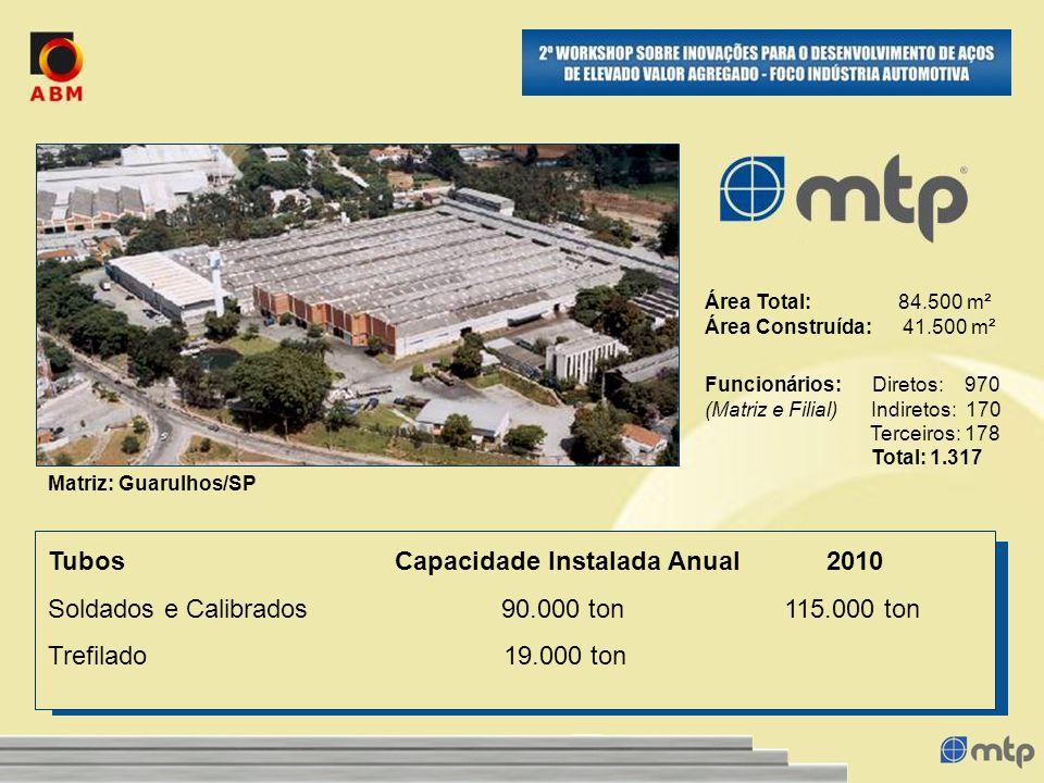 Funcionários: Diretos: 970 (Matriz e Filial) Indiretos: 170 Terceiros: 178 Total: 1.317 Área Total: 84.500 m² Área Construída: 41.500 m² Tubos Capacid