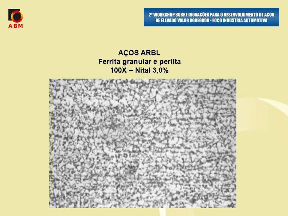 AÇOS ARBL Ferrita granular e perlita 100X – Nital 3,0%