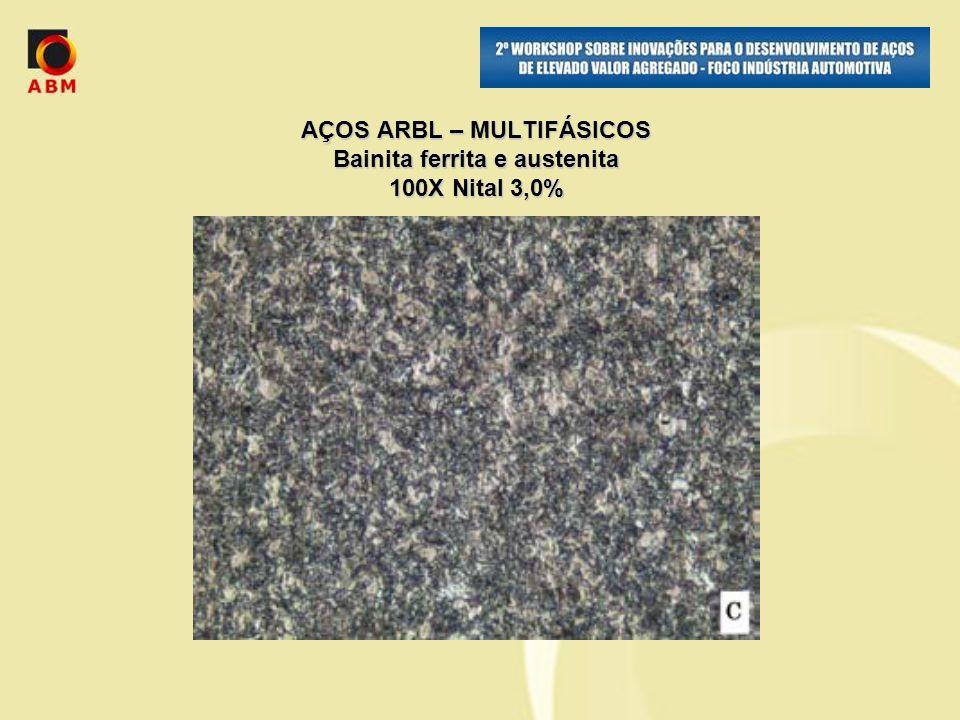 AÇOS ARBL – MULTIFÁSICOS Bainita ferrita e austenita 100X Nital 3,0%