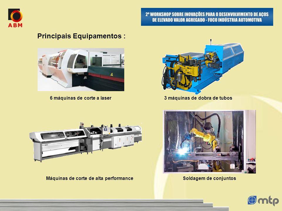Principais Equipamentos : 6 máquinas de corte a laser3 máquinas de dobra de tubos Soldagem de conjuntosMáquinas de corte de alta performance