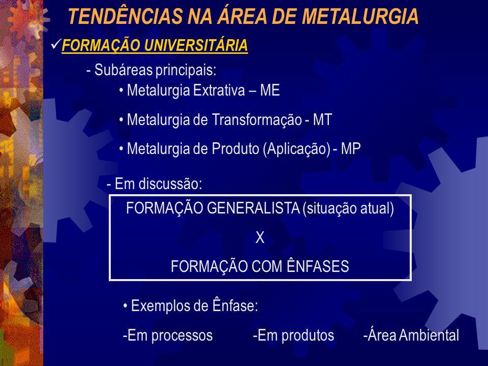 TENDÊNCIAS NA ÁREA DE METALURGIA FORMAÇÃO UNIVERSITÁRIA - Subáreas principais: Metalurgia Extrativa – ME Metalurgia de Transformação - MT Metalurgia de Produto (Aplicação) - MP - Em discussão: FORMAÇÃO GENERALISTA (situação atual) X FORMAÇÃO COM ÊNFASES Exemplos de Ênfase: -Em processos -Em produtos -Área Ambiental