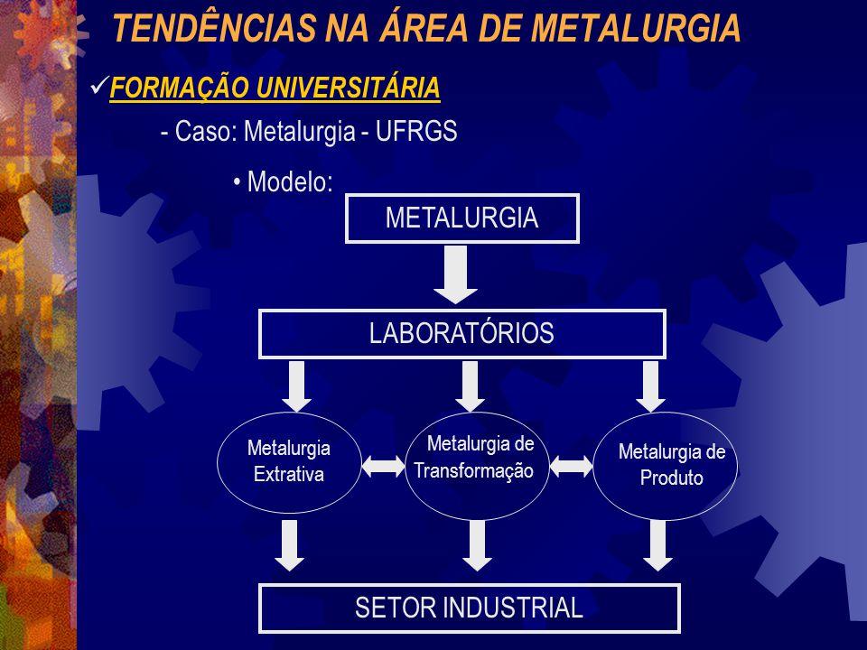 TENDÊNCIAS NA ÁREA DE METALURGIA FORMAÇÃO UNIVERSITÁRIA Ensino: Sala de Aula + Laboratórios Indústria: Via Laboratórios + Estágios Trabalho de Diplomação Ênfase: Via Mestrado / Doutorado