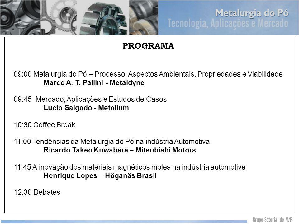 PROGRAMA 09:00 Metalurgia do Pó – Processo, Aspectos Ambientais, Propriedades e Viabilidade Marco A. T. Pallini - Metaldyne 09:45 Mercado, Aplicações