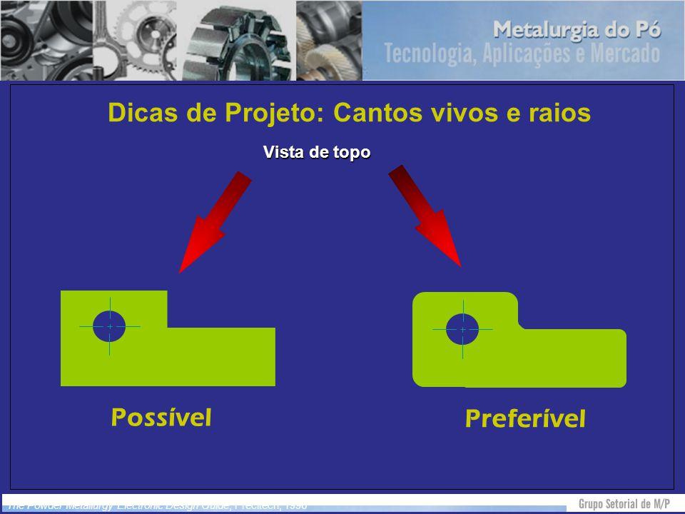 Dicas de Projeto: Cantos vivos e raios Vista de topo Possível Preferível The Powder Metallurgy Electronic Design Guide, Precitech, 1996