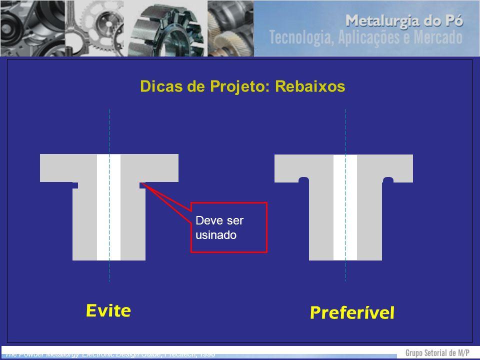 Dicas de Projeto: Rebaixos Evite Preferível Deve ser usinado The Powder Metallurgy Electronic Design Guide, Precitech, 1996