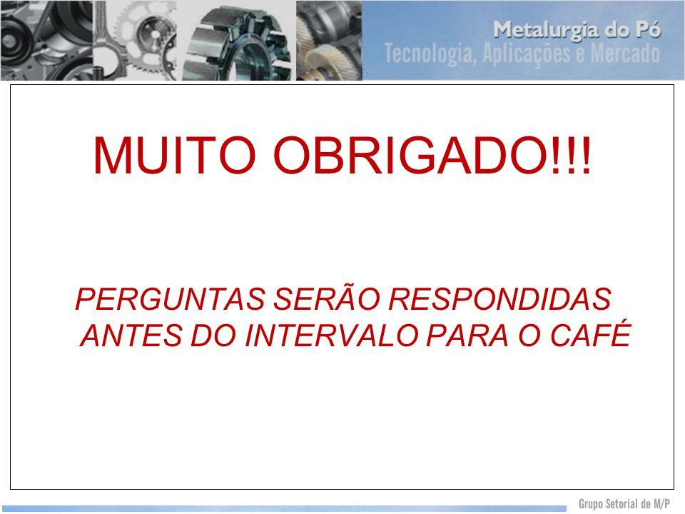 MUITO OBRIGADO!!! PERGUNTAS SERÃO RESPONDIDAS ANTES DO INTERVALO PARA O CAFÉ