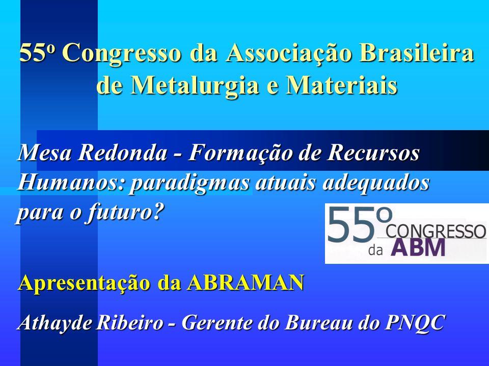 55 o Congresso da Associação Brasileira de Metalurgia e Materiais Mesa Redonda - Formação de Recursos Humanos: paradigmas atuais adequados para o futu