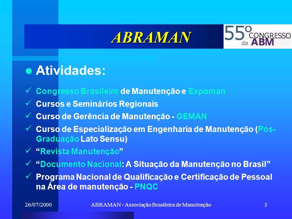 26/07/2000ABRAMAN - Associação Brasileira de Manutenção4 Dados e Fatos (Manutenção) Custos da manutenção (% do faturamento bruto): –3,6% (1999), 4,4% (1997); Gastos com pessoal próprio (% do custo de manutenção): –36,1% (1999), 38,2% (1997); Empregados próprios na manutenção: –19,6% (1999), 19,9% (1997); Empresas que identificam carências na formação de pessoal: –73,1% (1999), 81,5% (1997); Valorização e reconhecimento: maior vantagem da certificação para 65% dos profissionais.