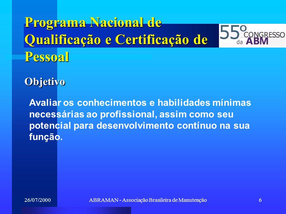 26/07/2000ABRAMAN - Associação Brasileira de Manutenção6 Avaliar os conhecimentos e habilidades mínimas necessárias ao profissional, assim como seu po