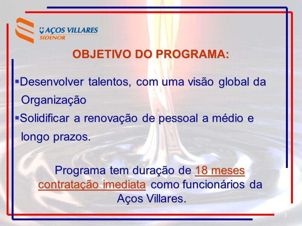 2 OBJETIVO DO PROGRAMA: Desenvolver talentos, com uma visão global da Desenvolver talentos, com uma visão global da Organização Organização Solidifica