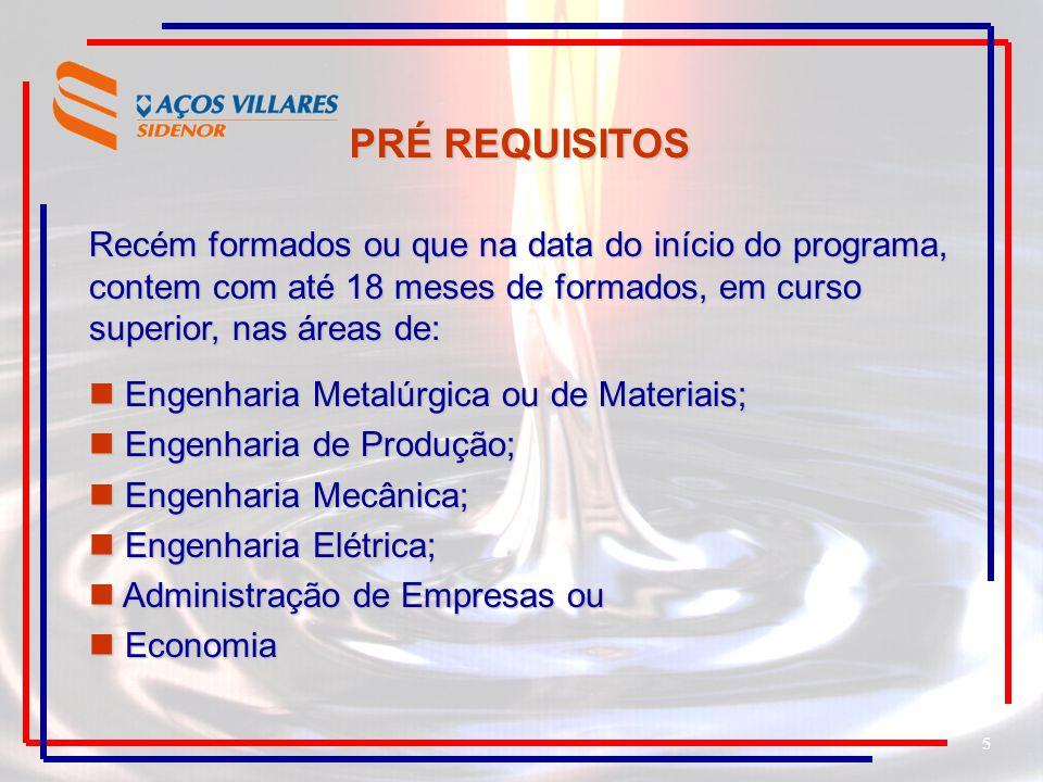 5 Recém formados ou que na data do início do programa, contem com até 18 meses de formados, em curso superior, nas áreas de: Engenharia Metalúrgica ou